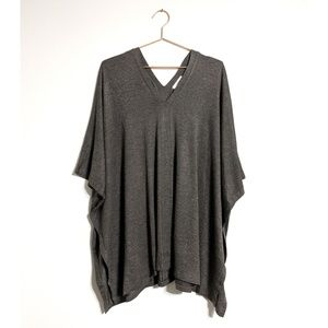 Charcoal Over-sized V-Neck Poncho Tunic NWOT